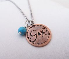 "Hand Stamped Jewelry -  Personalized Hand Stamped 3/4"" Copper Initial Monogram Necklace on Etsy, $24.00"