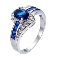 Women's Female Oval Ring Fashion Silver & Blue Filled Jewelry Wedding Party Ring #weddingring #rings #ringswomen #ringsfemale