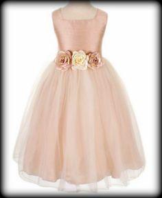 Dusty Rose 100% Silk Dupioni Bodice Flower Girls Dress w. Tulle Skirt