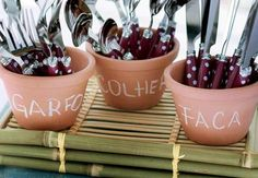 Another cute way to display cutlery - possibly a spring garden party Food Decoration, Table Decorations, Engagement Decorations, Tropical Party, Ideas Para Fiestas, Fiesta Party, House Party, Open House, Barbecue