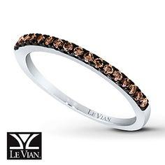 Chocolate Diamonds® Ring 1/4 ct tw Round-cut 14K Vanilla Gold™...perfect wedding band to match the chocolate diamlnd I want for my 10 errr..5 year anniversary