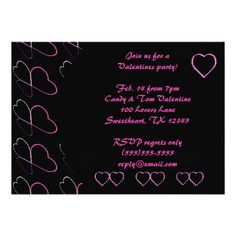 Love Hearts Pink VALENTINE'S DAY PARTY Cards