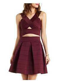 Criss-Cross Cropped Bandage Tank with Cut-Out