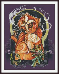 Cross Stitch Pattern Modern Red Cat PDF Mini by serenitasdesigns