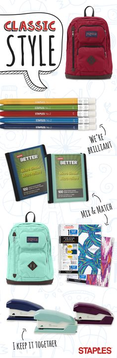 This year, keep is simple with classic school supplies, from tried-and-true backpack brands to the notebooks you already know you'll love. Back 2 School, The New School, Middle School, High School, School Gifts, School Stuff, School Organization, Organizing, Plan For Life