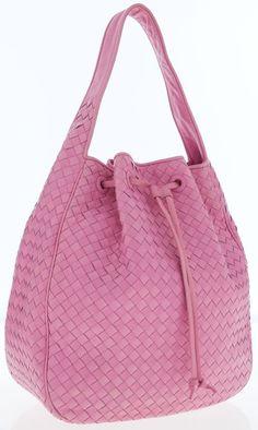 c3899b32fbb0 Bottega Veneta Bright Pink Intrecciato Nappa Leather Shoulder Bag with  Drawstring This pink Bottega Veneta shoulder - Available at Tuesday  Internet Luxury.