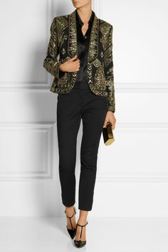 Emilio Pucci|Cropped embellished wool and silk-blend twill jacket|NET-A-PORTER.COM