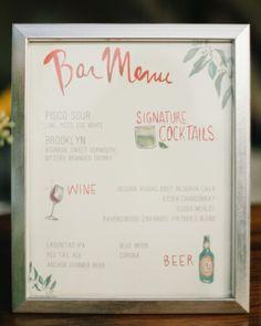 Illustrated cocktail menu