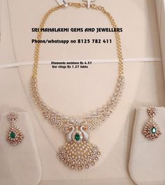 Diamonds jewellery at most competitive prices. Peacock locket necklace with ear rings. Visit for new designs at best prices. Stunning diamond necklace with dancing peacock design pendant. Necklace with matching earring. Contact no 8125 782 411 Diamond Necklace Set, Diamond Choker, Diamond Bracelets, Locket Necklace, Diamond Jewelry, Gold Jewelry, Diamond Pendant, Dimond Necklace, Garnet Necklace