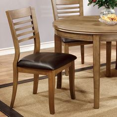 Adleman Transitional Style Vintage Oak Finish Dining Chair