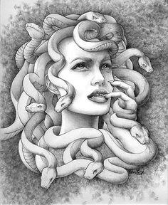 Angelina Jolie as medusa Medusa Drawing, Medusa Art, Medusa Gorgon, Medusa Head, Medusa Tattoo Design, Greek Mythology Tattoos, Greek And Roman Mythology, Tatuaje Art Nouveau, Medusa Kunst