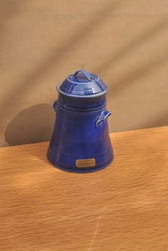 Vintage Irish Pottery Jar. Handmade Deep Blue Jar or Biscuit Barrel with Lid. by GoldenGully on Etsy