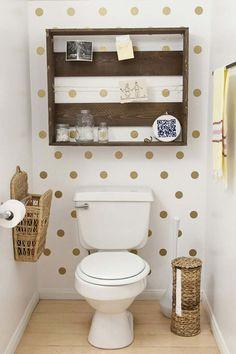 Looking for toilet storage ideas? Check out these awesome over the toilet storage ideas & designs (vintage, modern) Polka Dot Bathroom, Polka Dot Walls, Polka Dots, Toilet Storage, Bathroom Storage, Bathroom Shelves, Interior Design Magazine, Bathroom Inspiration, Bathroom Ideas