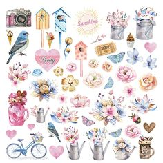 """Scrapbooking paper decorated on both sides from the """"Hello Spring"""" collection - KORA projects Planner Stickers, Journal Stickers, Scrapbook Stickers, Printable Stickers, Cute Stickers, Scrapbook Paper, Decoupage Vintage, Decoupage Paper, Vintage Paper"""
