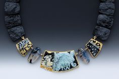 Africa by Marianne Hunter - 24K,14K, Argentium Silver, Enamels over 24kt & .999 Silver Foils, Botswana Agate Beads, Black Tourmaline Beads    METALS: