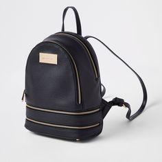 da518a7c2a Black double zip bottom mini backpack. (River Island)