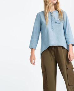 zara trf chemise en jean asymtrique