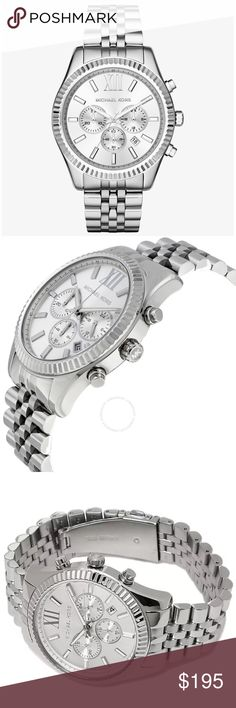 Michael Kors silver lexington chronograph watch Authentic. Brand new with tags, in original Michael Kors box with pillow and authenticity/warranty booklet. This silver stainless steel chronograph watch is technically a men's watch but it is absolutely suitable for a woman as well. Large watch faces are in! I also have this available in gold in a very similar style for women. Please see the last photo for additional details and features. Michael Kors silver lexington chronograph watch…