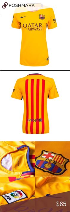 FC Barcelona woman's jersey Official soccer jersey. Stand with Barça as they continue to dominate the futbol world with this new Women's Nike FC Barcelona 2015/2016 Stadium Away Jersey. Barcelona is the Spanish Club with the most official titles (121). The back panel of the jersey features a yellow/red striped design. Barcelona logo on the left chest, and Nike Swoosh on the right. Qatar Airways logo printed in the center. UNICEF logo printed across the back. 100% Dri-FIT Polyester. Nike Tops