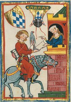 """Manesse Codex - illuminated manuscript - """"l'amour courtois """""""