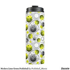 Modern Lime Green Pickleball Thermal Tumbler