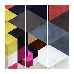 Abstract Geometric Triptych Wall Art