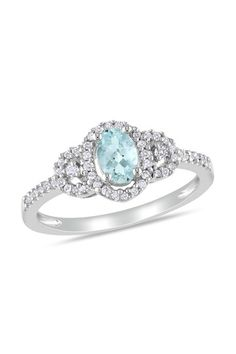Sterling Silver Pave Diamond & Aquamarine Oval Ring