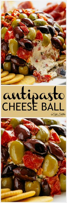 Cheese Ball Antipasto is a perfect centre piece for any occasion! Full of antipasto ingredients on the inside and covered in them on the outside! Serve it on a platter with cold meats such as salami and prosciutto, PLUS crackers! Meat Appetizers, Appetizers For Party, Appetizer Recipes, Antipasto Recipes, Party Snacks, Snack Recipes, Dinner Recipes, Antipasto Platter, Meat Platter