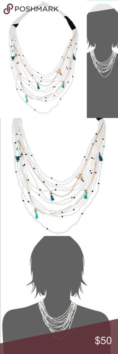 """Fossil Seed Bead Necklace 16.5"""" Fossil Seas Bead Necklace. Black and white beads with blue mini tassels. Gorgeous necklace have one for myself! Goes with everything cute boho vibe!  Brand new with tags, dust bag and box! Fossil Jewelry Necklaces"""