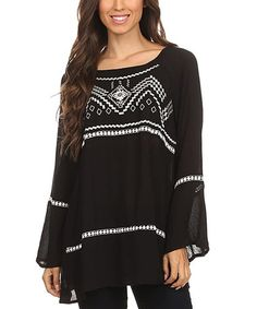 Another great find on #zulily! Black & White Geometric Scoop Neck Tunic - Plus Too #zulilyfinds