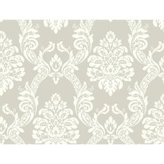 """York Wallcoverings Pattern Play 27' x 27"""" Ogee Damask Wallpaper Color: Gray / White"""