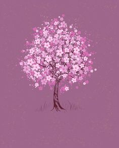Buy Cherry on Pink Background by on GraphicRiver. Artistically painted pink flowering cherry tree on pink background textural