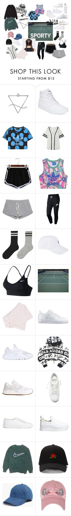 """""""SPORTY SPICE"""" by crescentchild ❤ liked on Polyvore featuring Vans, adidas Originals, American Vintage, NIKE, Uniqlo, Polo Ralph Lauren, Rosie Assoulin, adidas, New Balance and Golden Goose"""