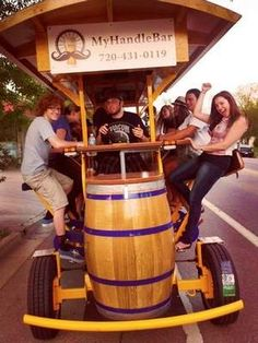 MyHandleBar, the 16-seat bicycle which takes riders to breweries and bars around Old Town Fort Collins, CO.