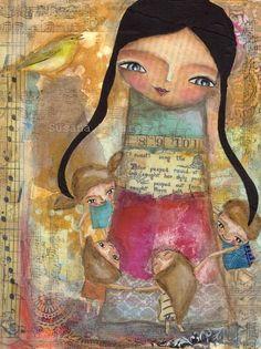Music  art print mixed media collage love 8 x 10 by SusanaTavares, $15.00