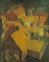 PROVINCETOWN AND CASSIS A DOUBLE-SIDED WOODBLOCK by Blanche Lazzell