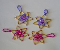 4 Beaded Stars from Glitterwitch. Craft Kits, Craft Supplies, Christmas 2014, Christmas Ornaments, Creative Connections, Red Team, Star Decorations, Bead Crafts, Pink And Gold
