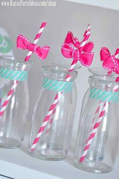 Adorable drinks at a Hello Kitty Birthday Party via Kara's Party Ideas Ideas -www.KarasPartyIdeas.com