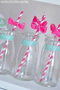 Adorable drinks at a Hello Kitty Birthday Party via Kara's Party Ideas Ideas -www.KarasPartyIdeas.com