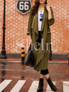 Winter Coat Outfits, Khaki Coat, Discount Designer Clothes, Fashion Outlet, Poses, Clothes For Sale, Army Green, Coats For Women, Duster Coat