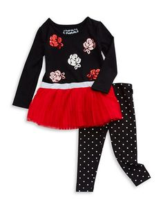 A sparkling, banded tunic and polka leggings set. Cotton/spandex. Machine wash. Imported.
