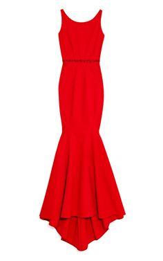 Shop Cherry Bondage Jersey Gown With Tonal Belt by Zac Posen Now Available on Moda Operandi