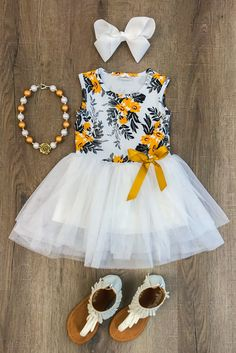Mustard and Gray Floral Tutu Dress - Sparkle in Pink Little Girl Outfits, Cute Outfits For Kids, Little Girl Fashion, Toddler Fashion, Toddler Outfits, Kids Fashion, Baby Girl Dresses, Baby Dress, Diy Tutu Skirt