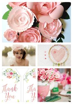 Pink and Green - Large paper flowers, free printables ... all links are in the post.