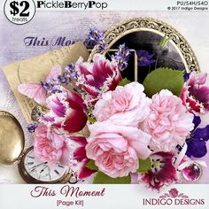 This Moment is a feminine and elegant page kit that will help you beautifully preserve time. Ruffled tulips and antique roses along with gold vintage elements will make beautiful, keepsake scrapbook pages.