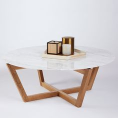 Marcello Round Italian Marble Coffee Table- Oak