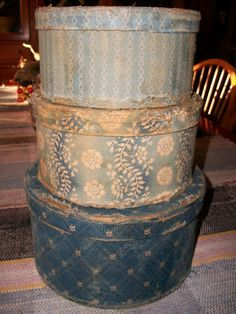 Blue Calico Boxes An Early Old Antique Look Primitive Set of Three | eBay