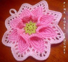 -Pega Panelas Crochet Calla Lily Potholders Pink Rose Cozinha