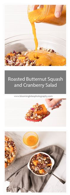 Roasted Butternut Squash and Cranberry Salad - A healthy and delicious salad filled with all our fall favorites topped with a homemade butternut squash dressing is the perfect recipe for the upcoming season.