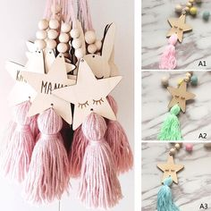 Souvenir Cute Crafts, Diy And Crafts, Arts And Crafts, Diy Souvenirs, Hanging Fabric, Star Gift, Creative Workshop, Beaded Garland, Gifts For Girls